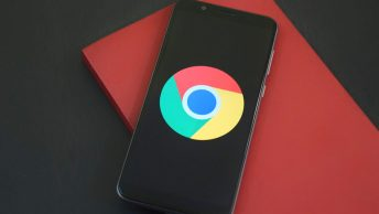 Smart phone with Chrome browser logo