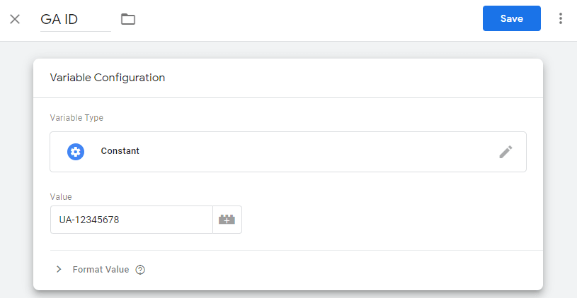 Setting a Constant variable in Google Tag Manager