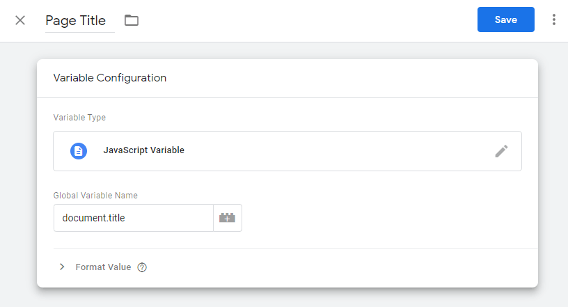 New JavaScript page title variable in Google Tag Manager