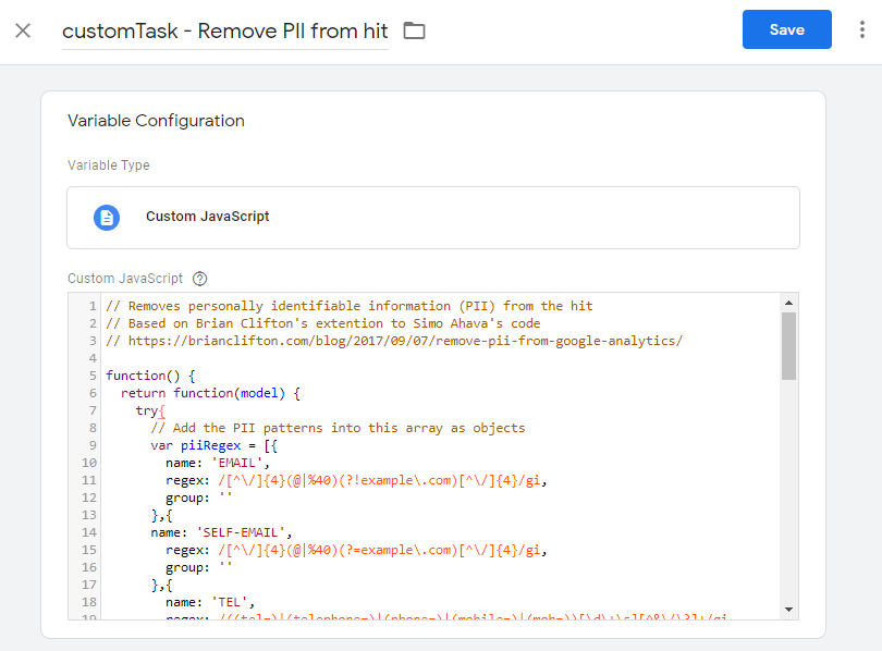 Removing Personally Identifiable Information from Google Analytics hit