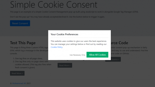 Simple Cookie Consent using JS and GTM